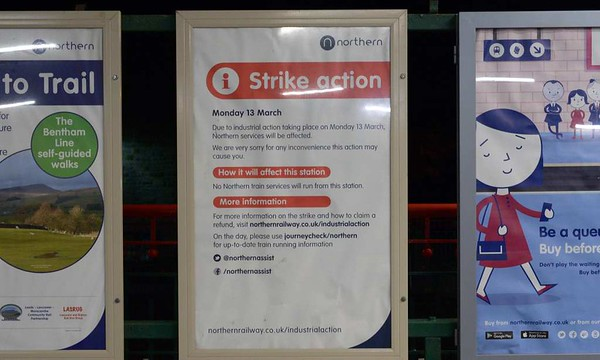 Northern Rail strike warning poster, Carnforth, Wed 8 March 2017.