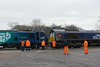 88002 Prometheus & 66432, Brunthill, Carlisle, Tues 24 January 2017 - 0934.  66422 was also on site for the move to the DRS depot at Kingmoor.