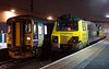 153315 & 70011, Lancaster, Sat 7 January 2017 - 2055.  The very unusual sight of a loco stabled in a Lancaster bay platform.  70011 had been working the 4S44 1157 Daventry - Coatbridge Freightliner, but it was stopped on the down fast with severe wheel flats.  68019 was scrambled 1Z99 from Kingmoor and took the train forward, leaving 287 minutes late at 2108 (due 1623).  The 153 was on the Morecambe shuttle.  70011 subsequently ran light to Leeds Midland Road via Carnforth on 9 January.