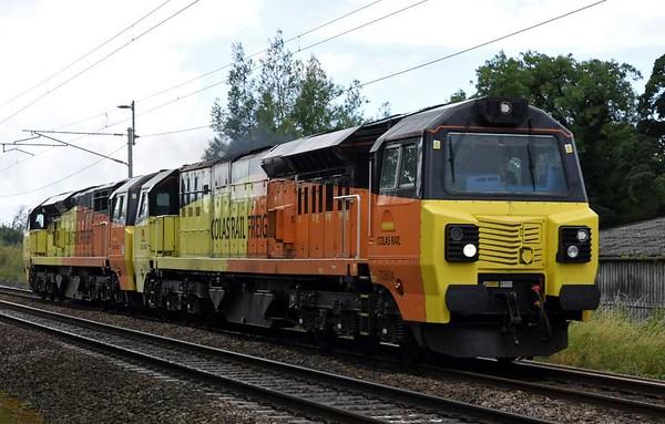 70804 & 70806, 0S70, Carnforth, Tues 1 August 2017 - 1149.  Colas Rail's 0900 Bescot engineers siding - Carlisle yard move.