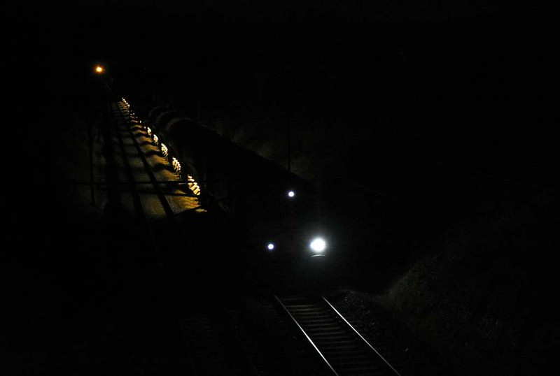 66xxx, Carnforth, 17 April 2017 - 0038 1.  An unidentified ballast train heads north towards Oxenholme after making a drop.