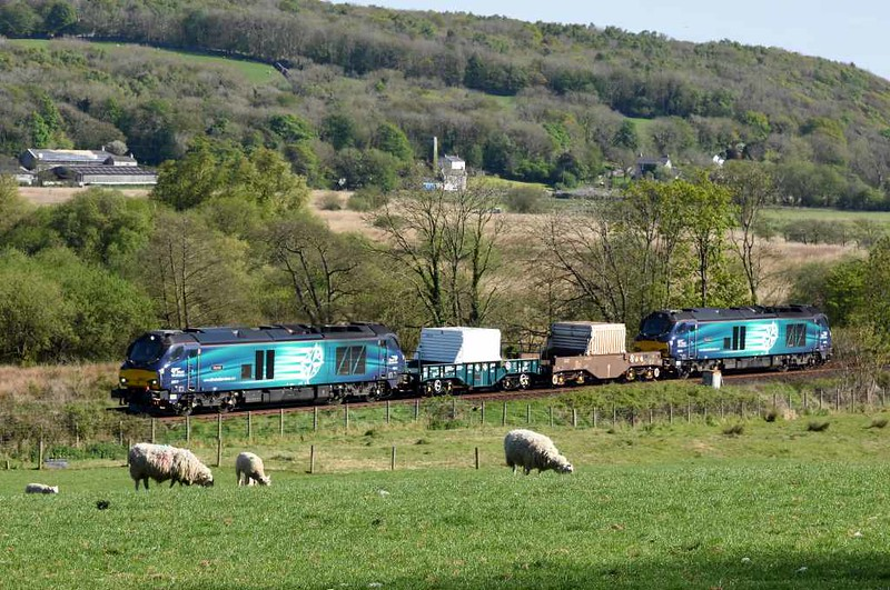 68017 Hornet & 68016 Fearless, 6C52, Silverdale, Wed 3 May 2016 - 1644.  DRS's 1612 Heysham - Sellafield.  This was the first time 68s had worked the Heysham flasks, though they have worked other nuclear trains.