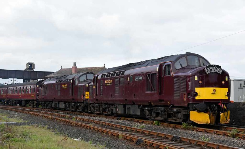 37516 Loch Laidon & 37669, 1Z21, Carnforth, Thurs 1 June 2017 - 0820.  The 37s get away for York via Skipton and Leeds with the first Scarborough Spa Express of 2017.  45699 Galatea worked it between York and Scarborough. The nine coaches were 99125, 99127, 1961, 99371, 99128, 1860, 99327, 5222 & 9392.