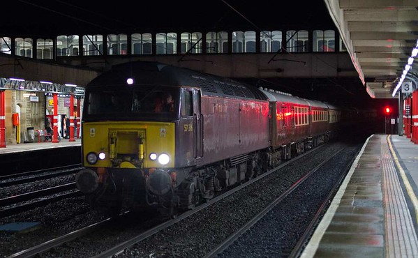 57316 T&T 57601, 5Z52, Lancaster, Tues 10 January 2017 - 1731.  WCRC'a  1414 Crewe - Carnforth move with some of the Statesman ECS: 17080, 3188 Cadair Idris, Kitchen car 1659, 3438 Ben Lomond, 3312 Helvellyn, 1211, 5991 & 5912.