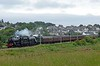 45212 & 60103 Flying Scotsman, 1Z29, Hest Bank, Mon 18 June 2018 - 1646.  Steam Dreams' London Victoria - Carnforth Lakes Express nears journey's end.  The Black 5 was on its way to the Keighley & Worth Valley Railway's 50th anniversary gala.  The KWVR own 45212, which they bought on withdrawal in 1968.  The 12 coaches were reported as 33508(?), 99953, 4994, 5200, 9104, 13440, 99121, 99127, 13329, 1666, 5236 & 5237.