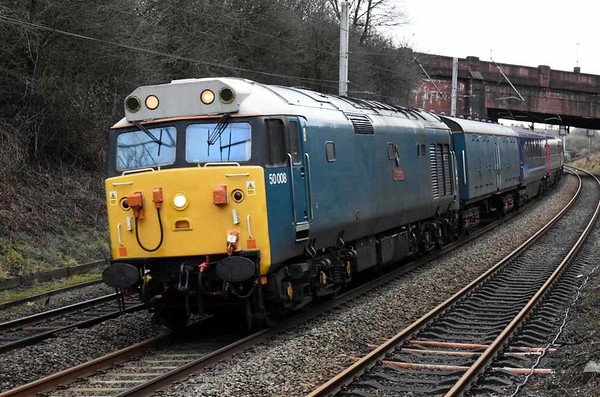 50008 Thunderer, 5Z50, Hest Bank, Mon 15 January 2018 - 1330.  DC Rail's 1010 Leicester - Craigentinny stock move with 6344, 44066, 42209, 42208 & 6340.