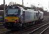 88010 Aurora & 88009 Diana, 0C51, Carnforth, Wed 17 January 2018 2 - 1435.  Setting off for Heysham, still in diesel mode.