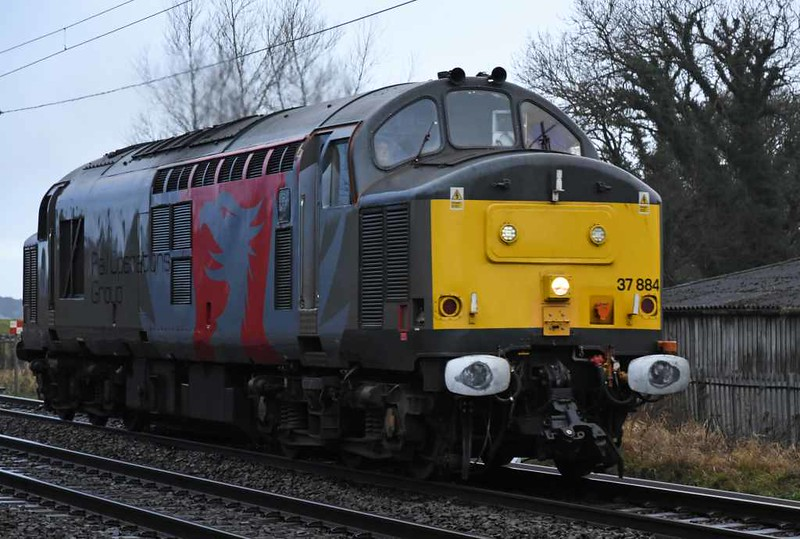 37884, 0S07, Carnforth, Thurs 4 January 2018 - 1341.  The Rail Operations Group's 1028 Leicester - Carlisle - Glasgow Works move for EMU transfers between Glasgow Works and Shields Traction Depot.