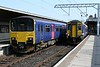 150128 (2Y60) & 156485 (2C42), Carnforth, Wed 17 April 2019 - 1055.   Legacy liveries on Northern DMUs.  The former First Great Western 150 was working the 1045 Lancaster - Leeds; the former ScotRail 156 was on the 0710 Carlisle - Lancaster.