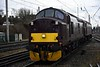 37518 & 57313, 0Z56, Carnforth, Thurs 7 March 2019 - 1218.  Taking the stricken 57 into Steamtown.  It had failed on WCRC's 0634 Chesterfield - Settle - Carlisle tour which had been diverted from Blackburn via Preston to Carnforth, where 57313 had been detached.