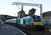 68017 Hornet & 68005, 1Z06, Carnforth, Sat 7 September 2019 1 - 1929.  The return leg of NENTA's Settle, Carlisle and Cumbrian Coast Explorer arrives 60 late after being diverted via Barrow because of signalling problems.  The 11 coaches were 3390, 3345, 1857, 3364, 3333, 3397, 1200, 6042, 5950, 5929 & 9504.  The outward leg had run from Norwich (0425) via Ipswich, Peterborough, Normanton, and Settle.  The return leg left Carlisle at 1535 and ran via Millom, Nuneaton and Leicester to Peterborough and Ipswich, returning to Norwich 24 late at 0126.