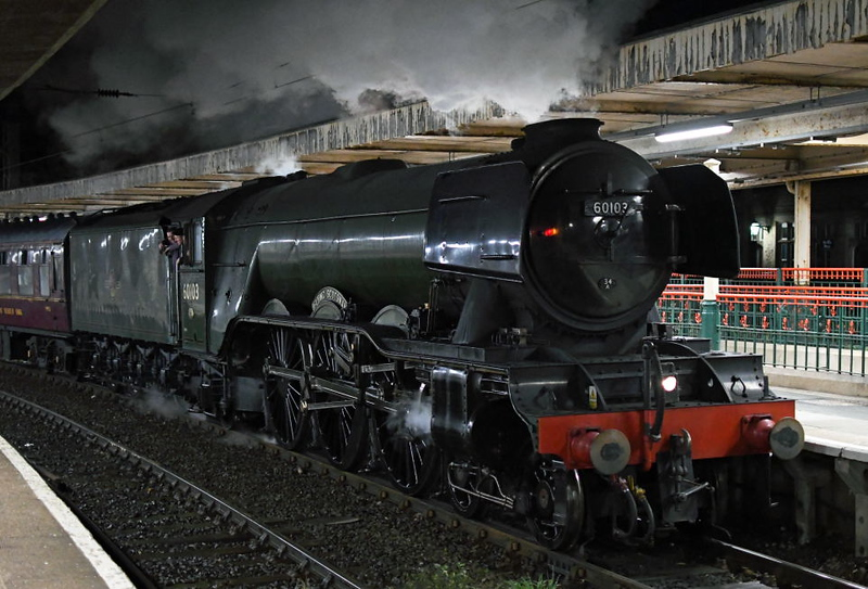60103 Flying Scotsman, 5Z57, Carnforth, Sun 13 October 2019 - 2146.  Arriving from the NRM with support coach 99953.