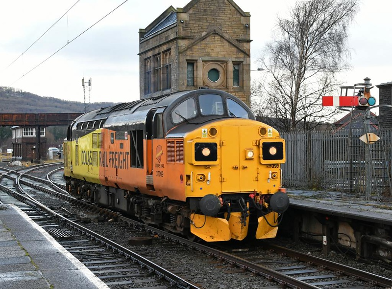 37099 Merl Evans, 0Z67, Carnforth, Tues 22 January 2019 1 - 1350.  Colas's 1020 Carlisle - Derby RTC route learner via Barrow.  It had worked from Derby to Carlisle via the coast the previous day.