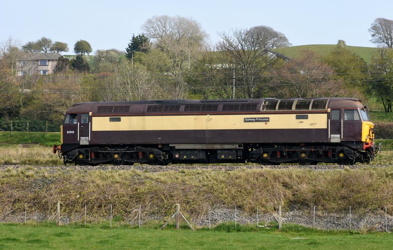 57312 Solway Princess, 0S08, Carnforth, Mon 15 April 2019 - 1536.  The Rail Operations Group's former DRS loco heads to Kilmarnock Barclay sidings from Leicester Loco Inspection Point (1127).