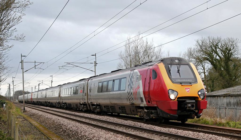 221114 Royal Air Force Centenary 1918 - 2018 & 221107 Sir Martin Frobisher, 9S77, Carnforth, Thurs 14 March 2019 - 1717.  Virgin's 1342 Euston - Birmingham New Street - Glasgow Central.