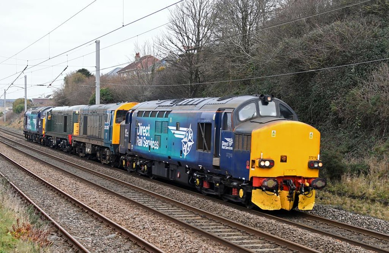 37218, 20205, 20007 & 37059, 0Z20, Hest Bank, Thurs 10 January 2019 1 - 1047.  DRS's 0914 Carlisle - Gresty Bridge move. The convoy continued to Derby RTC on the 11th.