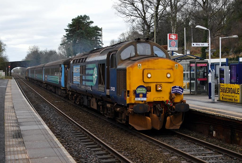 37425 Concrete Bob / Sir Robert McAlpine, 2C38, Silverdale, Fri 11 January 2019 - 1317.  The Class 37 Farewell heads for Barrow and Carlisle after a ten minute turn-round at Carnforth.