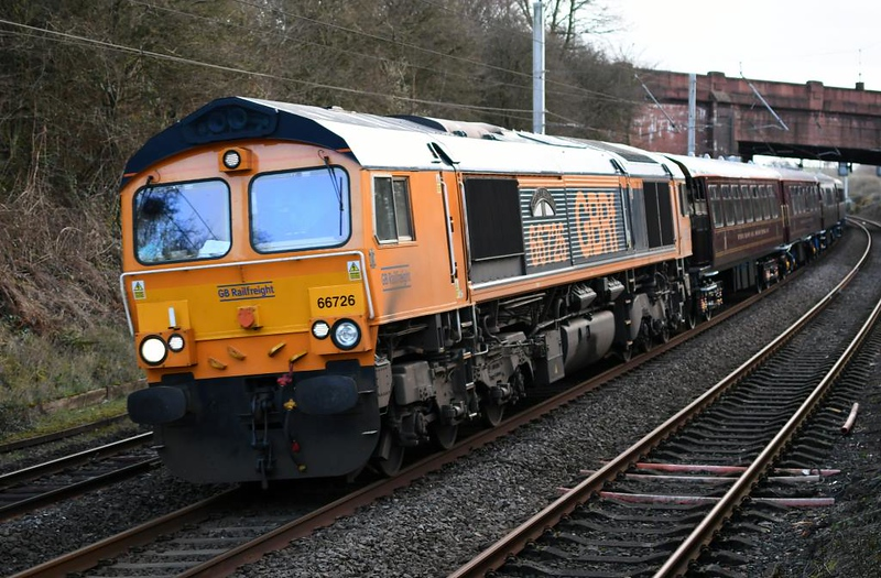 66726 Sheffield Wednesday, 5S66, Hest Bank, Sun 10 March 2019 1 - 1641.  GBRf's 0953 Eastleigh Works - Hamilton (L G Steele) Royal Scotsman positioning move for the start of the 2019 season.
