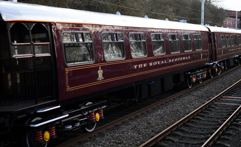 66726 Sheffield Wednesday, 5S66, Hest Bank, Sun 10 March 2019 2.  Here are views of each of the ten Royal Scotsman coaches, pristine after winter maintenance, starting with observation car 99965.