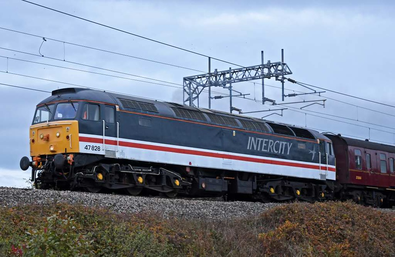 47828, 5Z31, Carnforth, Sat 16 November 2019 - 1500.  The elusive 47 sets off for Barrow Hill with four coaches for the Branch Line Society's Sunday  Roundhouse Rotator tour -  21266, 4973, 4940 & 4905.