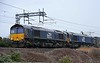 66422 & 66434, 4M27, Carnforth, Thurs 7 January 2020 - 1120.  DRS's 0546 Mossend - Daventry, 151 late.  88004 & 88005 DIT worked 4S43 0624 Daventry - Mossend Tesco Express, passing Carnforth 171 late at 1229.