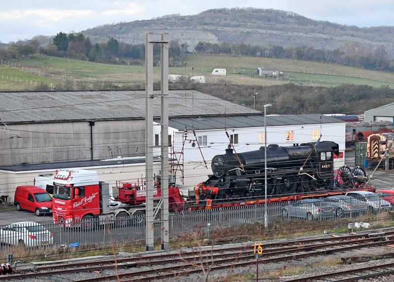 44871, Carnforth Steamtown, Thurs 26 November 2020 - 1601.  Awaiting departure to the Ian Riley works at Heywood on the Reid Freight low-loader.  Note that the rear drivers have been removed.