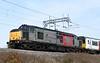 37800 Cassiopeia & 317344, 5Q50, Carnforth, Mon 23 March 2020 - 1118.  The Rail Operations Group's Kilmarnock Bonnyton - Wolverton move.