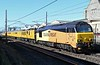 68027 Charlotte & 68023 Stella, 1Q18, Carnforth, Tues 31 March 2020 - 1013.  Colas Rail's 0613 Derby RTC - Aberdeen - Craigentinny with 975091, 977997, 72631 & 9523.