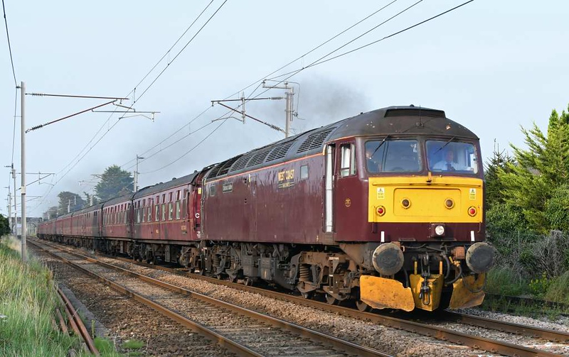 47854 Diamond Jubilee T&T 57316, 1Z56, Carnforth, Tues 11 August 2020 - 1830.  WCRC's 1520 Carlisle - Chester Dalesman.  35018 had worked it between Preston and Carnforth.  These diesels had worked it between Chester and Preston.