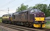 37668 & 57313 Scarborough Castle, 0Z57, Carnforth, Mon 10 August 2020 1 - 1537.  WCRC's 1410 Crewe down refuge siding - Steamtown move.  57313 had failed at Crewe on the 7th after workng the Manchester - Edinburgh Northern Belle with 57601.  47804 took its place on the Liverpool - Edinburgh Belle on the 8th.