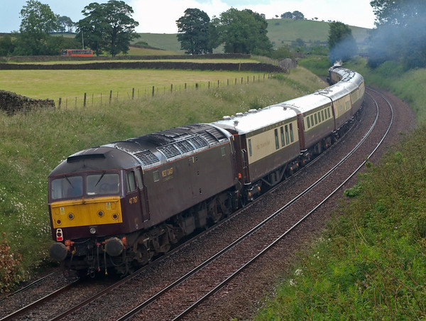 47787 & 6201 Princess Elizabeth, 1Z26, Long Preston, 5 July 2008 - 1710   NB Pullman brake The Trianon Bar in front of the 47.