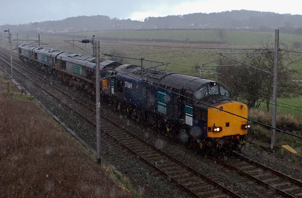37069, 66409, 66421 & 66430, 0Z66, Hest Bank, 3 March 2008 - 1547   A Carlisle - Crewe convoy in a hailstorm!