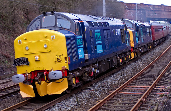 37667 & 37688 Kingmoor TMD T+T 57601, 1Z70, Hest Bank, 8 March 2008 - 1212    Spitfire Tours' Cumbrian Coast Explorer from Birmingham via Shap to Carlisle, then back via Workington.  57601 was dead on the rear.