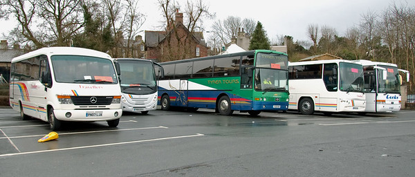 Rail replacement buses, Carnforth, 29 March 2008 - 1610 2   At left are PN07 LJA and YN05 RXY.