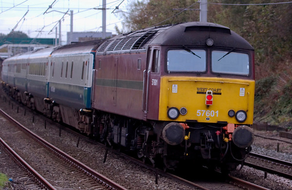 57601, 1Z87, Hest Bank, 15 October 2008 - 1045    WCRC's maroon machine was on the rear of 87002's train.