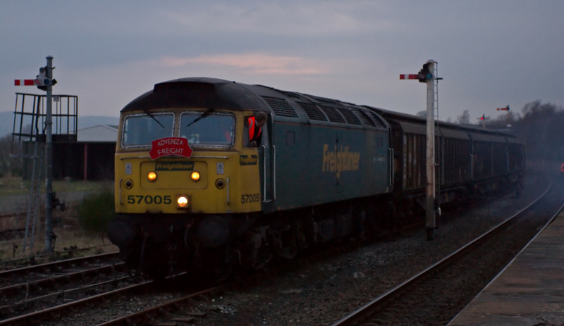 57005. Hellifield, 8 February 2008 7 - 1659    The 57 sets off for Doncaster.  The cargowaggons were bound for Germany via the Channel Tunnel.