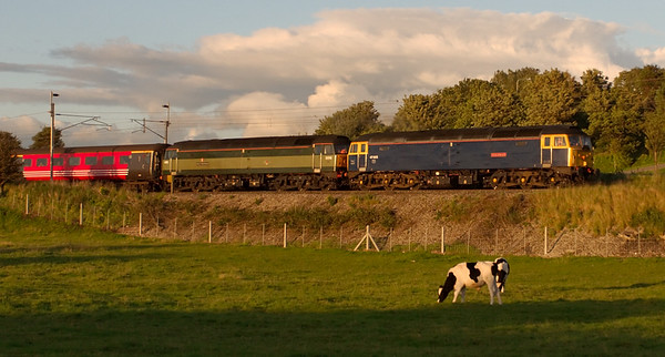 47805 Talisman & 47815 Great Western, 1Z48, Carnforth, 19 July 2008 - 2048    As the evening shadows lengthen, the 47s head south one hour late with the return leg of Compass's 'Trent Scotsman' tour from Lichfield to Edinburgh.