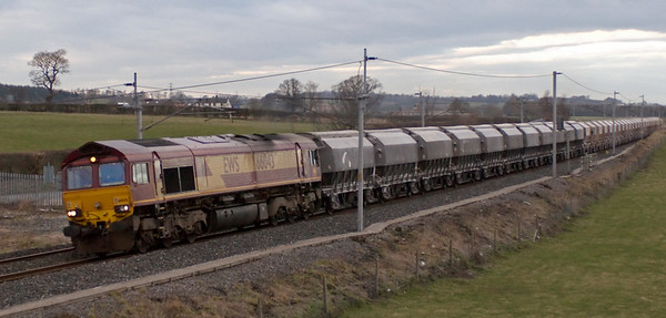 66043, 6M46, Penrith, 17 March 2008 - 1711   The 1111 Redcar - Hardendale lime empties.