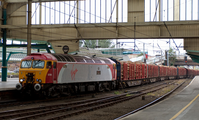 57316 Fab 1, 6J37, Carlisle, 24 July 2008 - 1438     Colas's 1327 Carlisle - Chirk timber runs into the station.