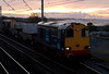20307 & 20309, 6C52, Hest Bank, 12 November 2008 - 1608    The WO 1535 Heysham - Sellafield flask train skirts Morecambe Bay at sunset.