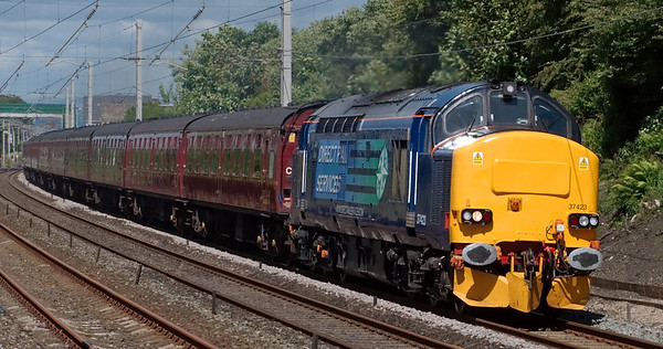 37423, 5Z47, Hest Bank, 20 June 2008 - 1510    The DRS loco works the WCRC ECS from Carnforth to Crewe for Spitfire's Paignton Pudden tour, which it was due to work with 37606.