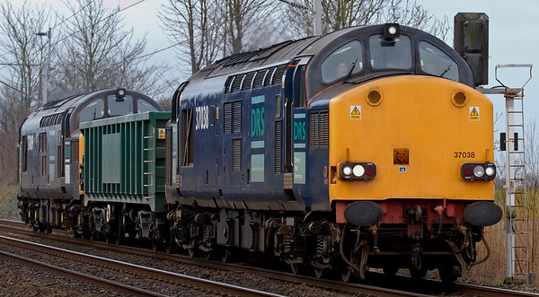 37038 & 37069, 6C23, Carnforth, 5 March 2008 - 0912    Super power to take a single (former?) Freighliner MJA open wagon from Crewe to Workington via Carlisle and back.