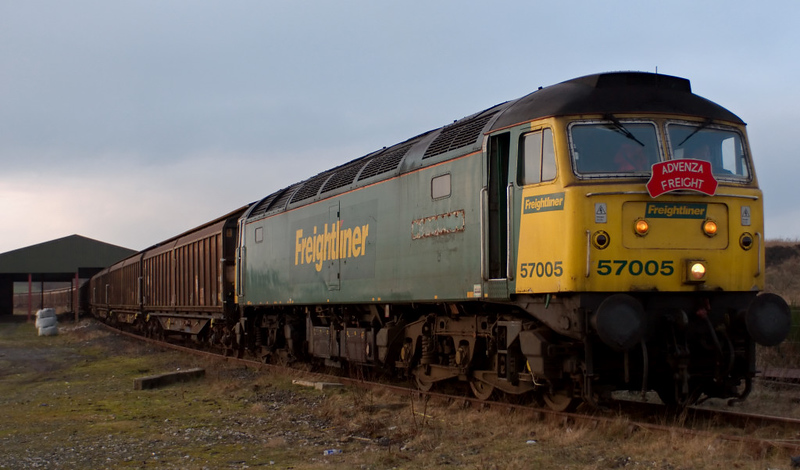57005. Hellifield, 8 February 2008 3 - 1618   The 57 stands at the head of the cargowaggons.  It took three moves to extract them.