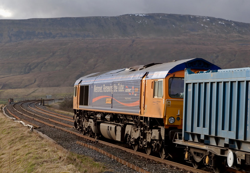 66719 Metro-Land, 4M91, Ribblehead, 9 April 2008 - 1744 2    Far from Metro-land, the 66 approaches Ribblehead Viaduct.