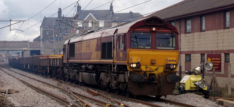 66008, 6K05, Carnforth, 11 April 2008 - 1544    The 44 wagon 1314 Carlisle - Cewe departmental calls at EWS's soon to close Carnforth signing on point for a crew change.