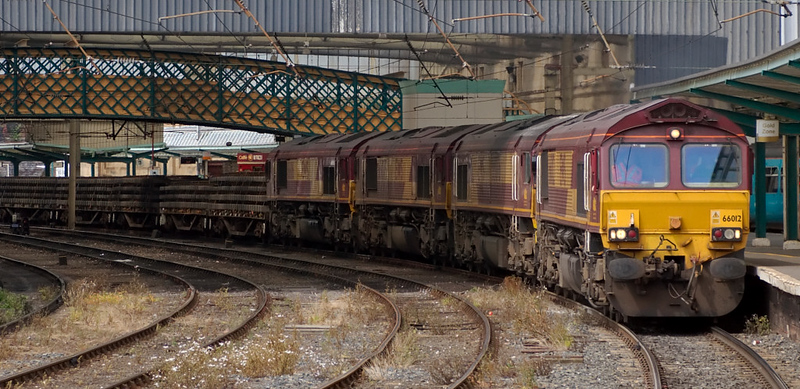 66112, 66076, 66075 & 66116, 6K05, Carlisle, 24 July 2008 - 1328    EWS do not often use the daily 1314 Carlisle - Crewe departmental to move locos, but here are three 66s dead in tow on a train of track panels.
