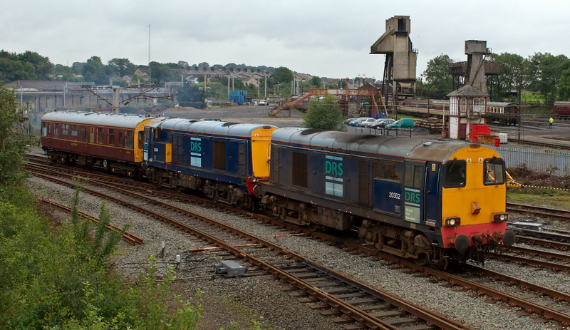 20302 & 20304, 5Z56, Carnforth, 5 August 2008 - 1410    An unusual working indeed as the 20s set off for York via Skipton with saloon  999506, which they had picked up in Steamtown.  20s were used so they could give York DRS drivers a refresher run on the type.
