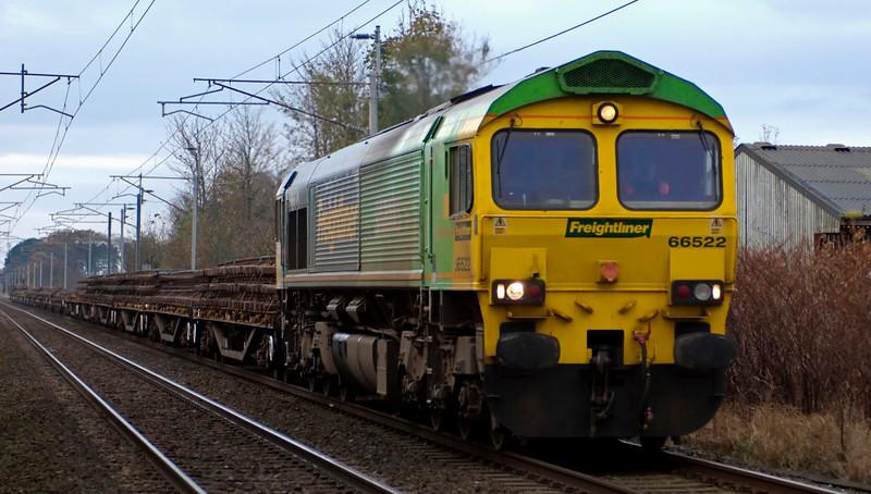66522, 6Z26, Carnforth, 4 November 2008 - 1034    Lime end leading for once, the Shanks 66 heads Freightliner's 0800 Crewe- Carlisle departmental.