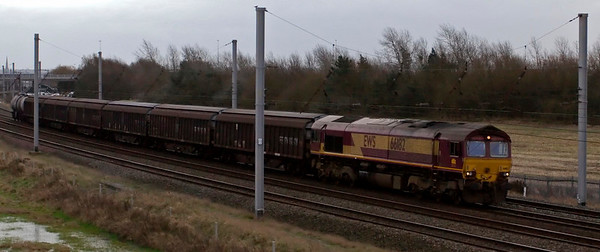 66182, 6E33, Winwick, 18 December 2008 - 1404    EWS's 1355 Arpley - Immingham Enterprise.