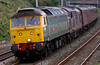 47851 Traction Magazine & 37712, 5Z57, Hest Bank, 22 September 2008 - 1205 1     The WCRC pair approach Carnforth from Hereford with the ECS off Leander's tour the previous Saturday.  37712 was being dragged following loss of coolant.